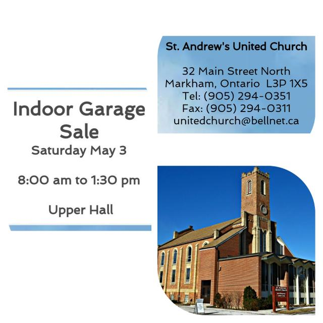 Indoor Garage Sale at St Andrew's United Church in Markham