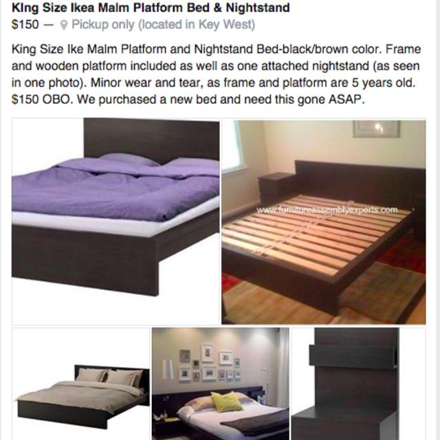 King Size Bed Frame Ikea Malm Platform Nightstand