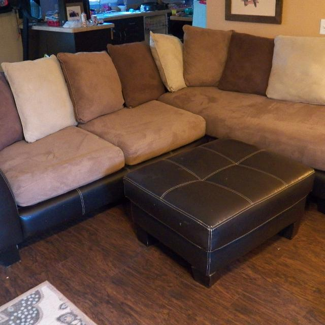Find More Micro Suede L Shaped Couch And Ottoman In Great Condition