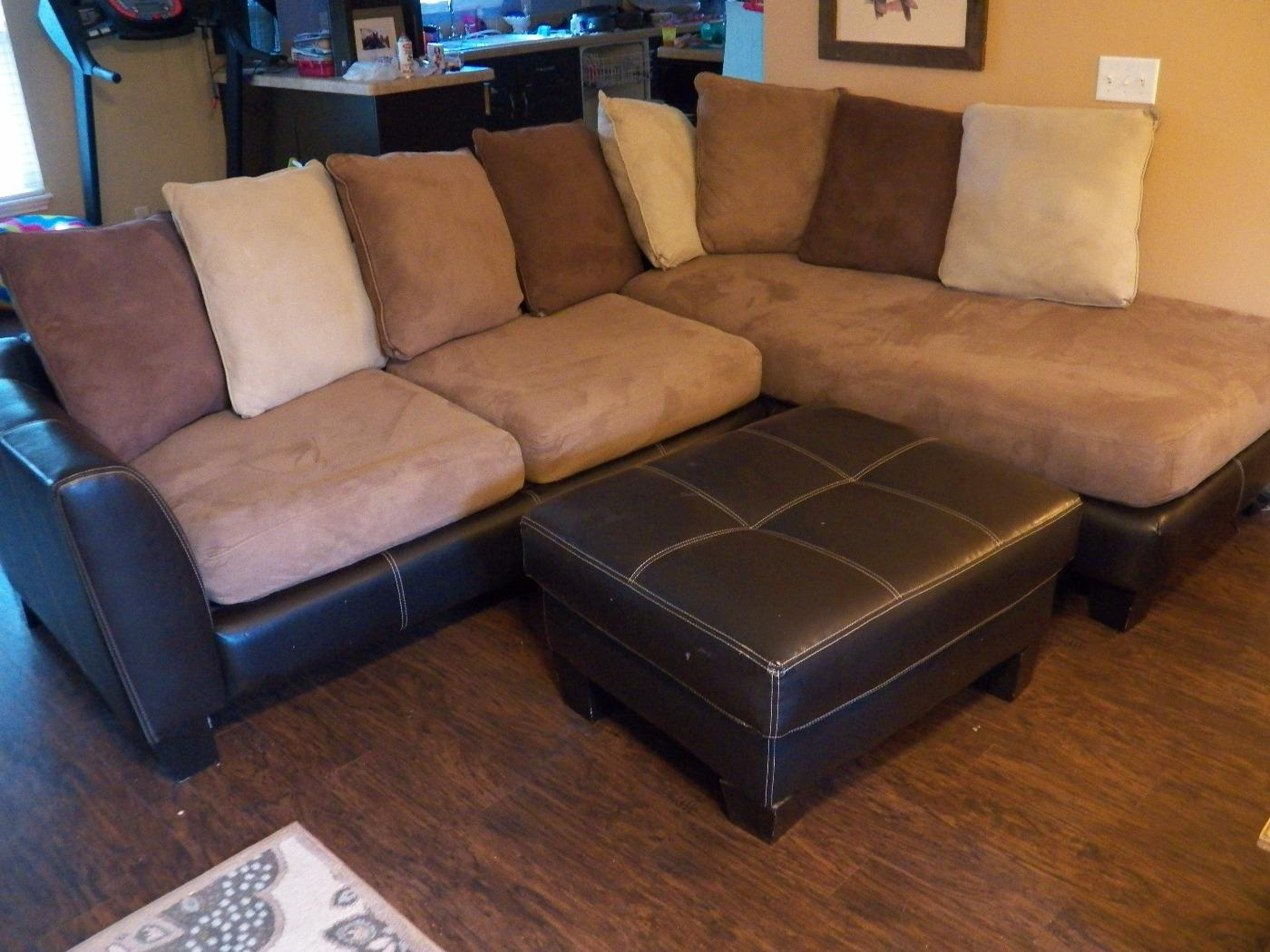 Micro Suede L Shaped Couch And Ottoman