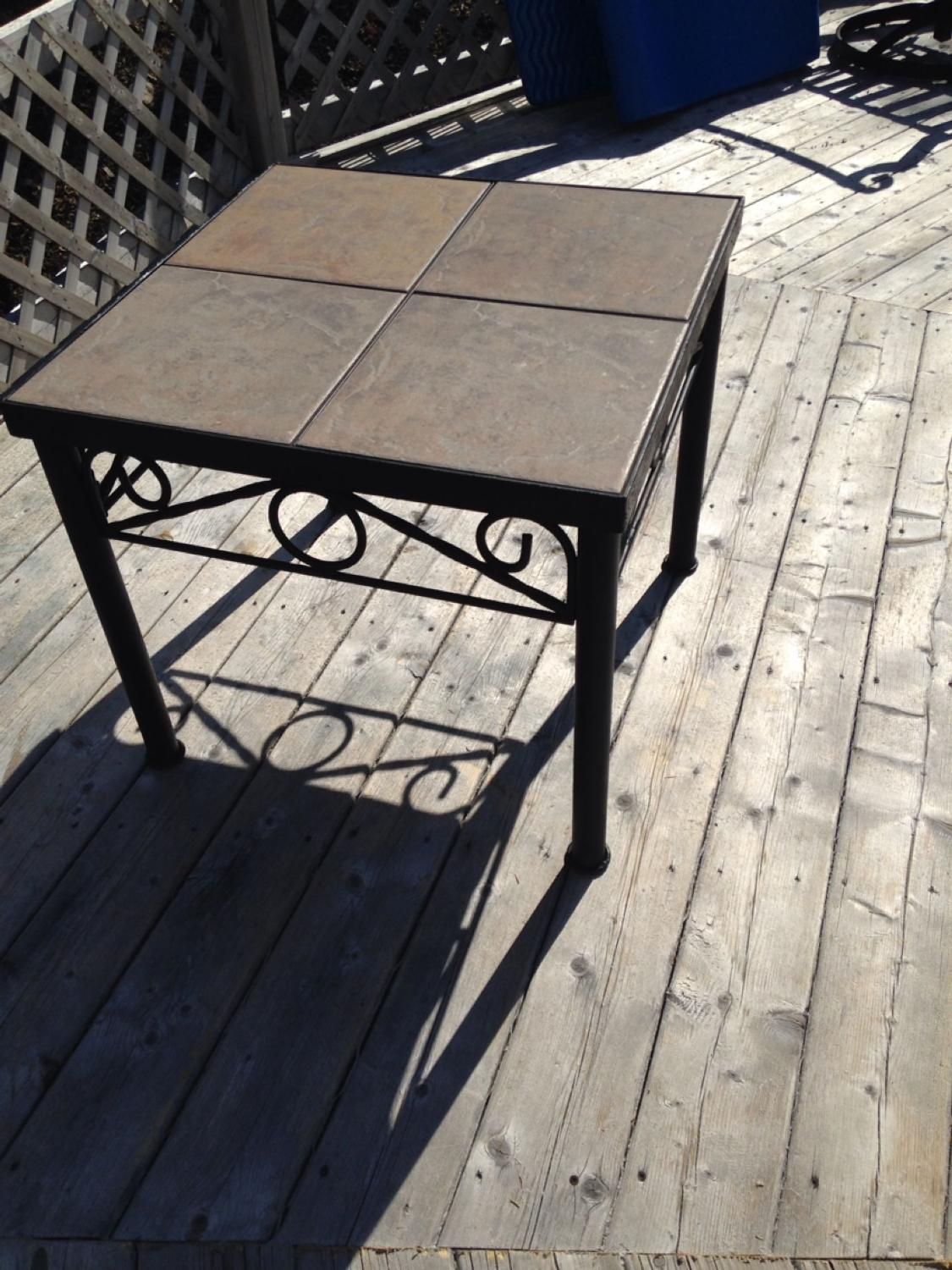 Best metal tile top end table very heavy for sale in halifax nova scotia for 2019