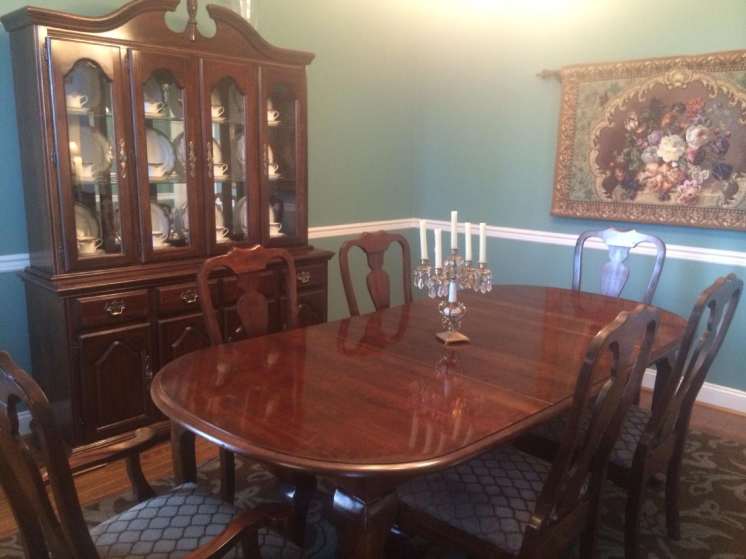 Find More Beautiful Kincaid Cherry Dining Room Set Table With Two Leaves 6 Chairs Hutch For Sale At Up To 90 Off