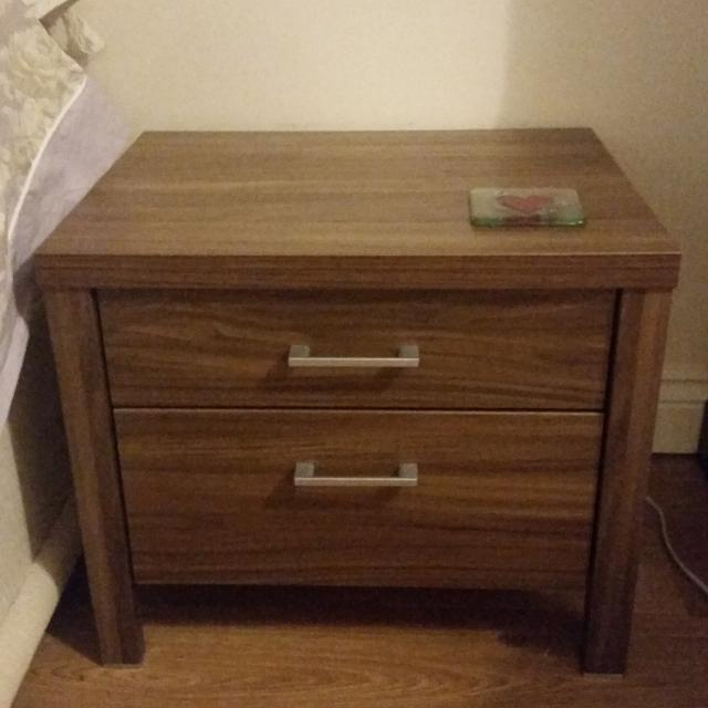 . Harveys prague walnut bedroom furniture  two matching bedside tables and  tall drawers  Excellent condition as new