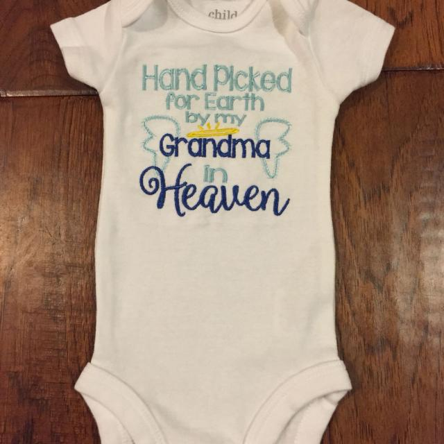b71247763 Best Hand Picked For Earth By My Grandma In Heaven Onesie for sale in  Murrieta, California for 2019