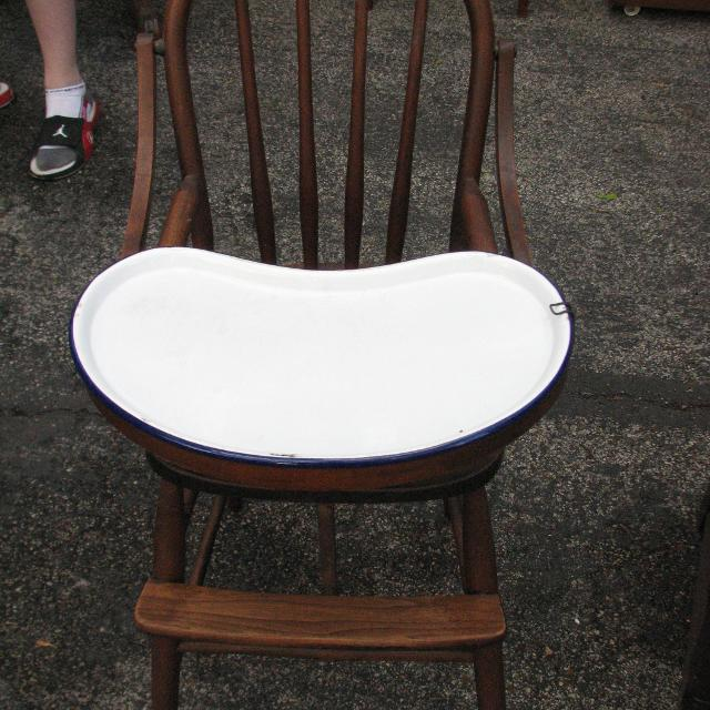 Antique Wood High Chair w/ Ceramic Tray - Find More Antique Wood High Chair W/ Ceramic Tray For Sale At Up To