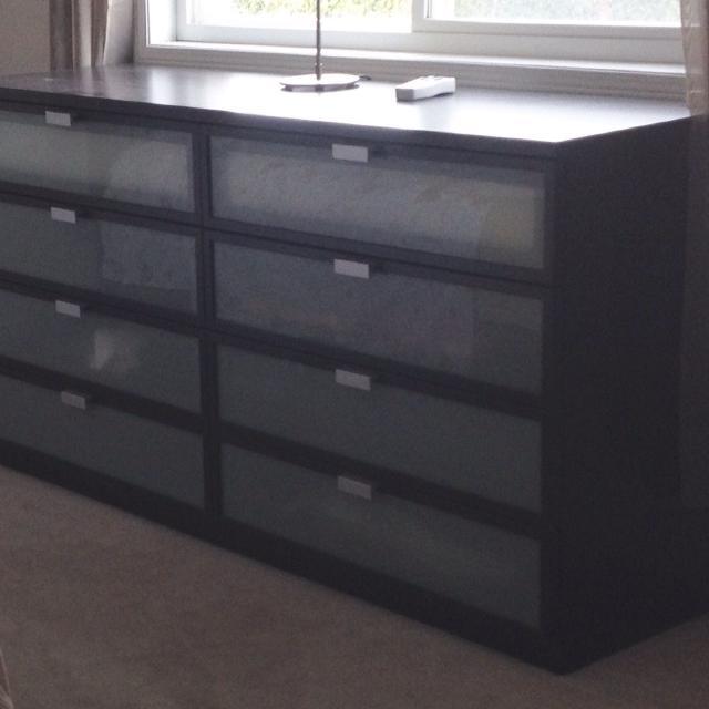 Find More Ikea Dresser Gl Front Drawers Black Brown Finish