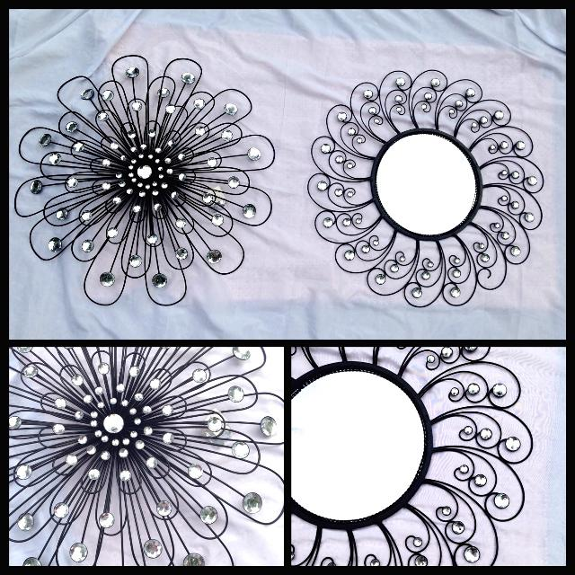 Black Metal Flower Wall Decor And Mirror With Clear Gemstones