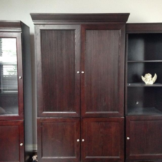 Reduced Price Full Sized 3 Piece Entertainment Center Cherry Wood Wicks Furniture