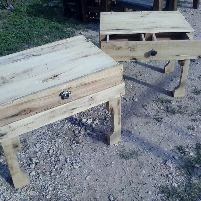 Best Two Rustic Reclaimed Pallet Wood End Tables Very Unique Sold