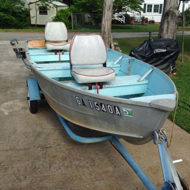 Find more feathercraft 14 ft v hull aluminum boat with for 16 foot aluminum boat motor size