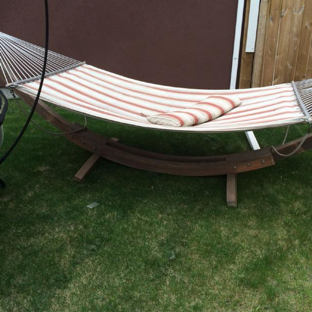 Free standing hammock  purchased from Costco 3 years ago  Was re stained  last. Find more Free Standing Hammock  Purchased From Costco 3 Years Ago