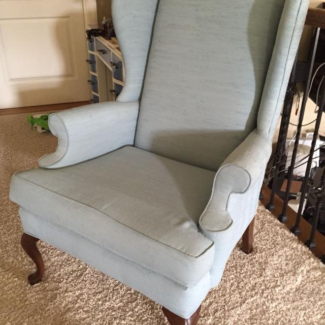 Find More Light Blue Wingback Chair Minor Fading And A Few Tiny