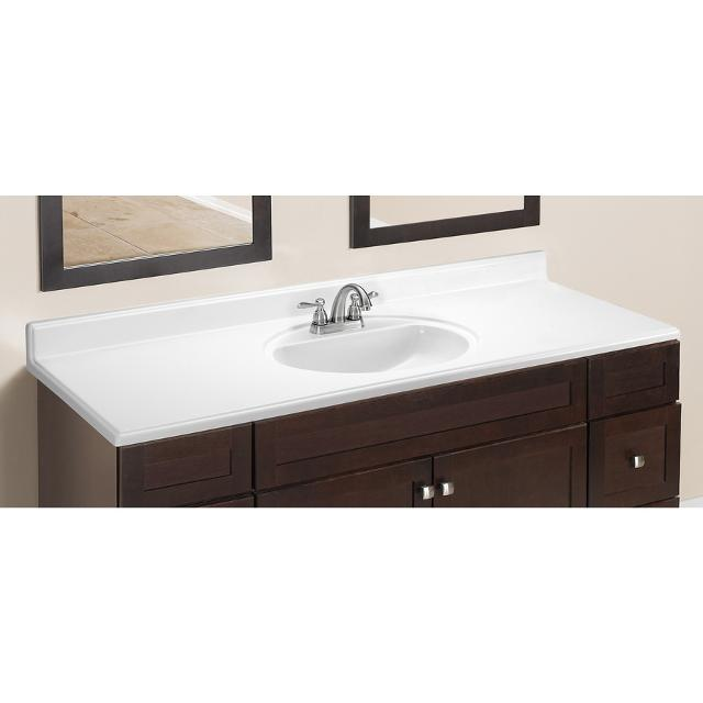 Style Selections Oval White On Cultured Marble Integral Single Sink Bathroom Vanity Top 31