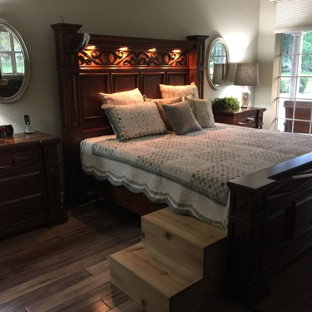 Find more King Size, Solid Wood Bedroom Set. Hidden Drawers In The ...