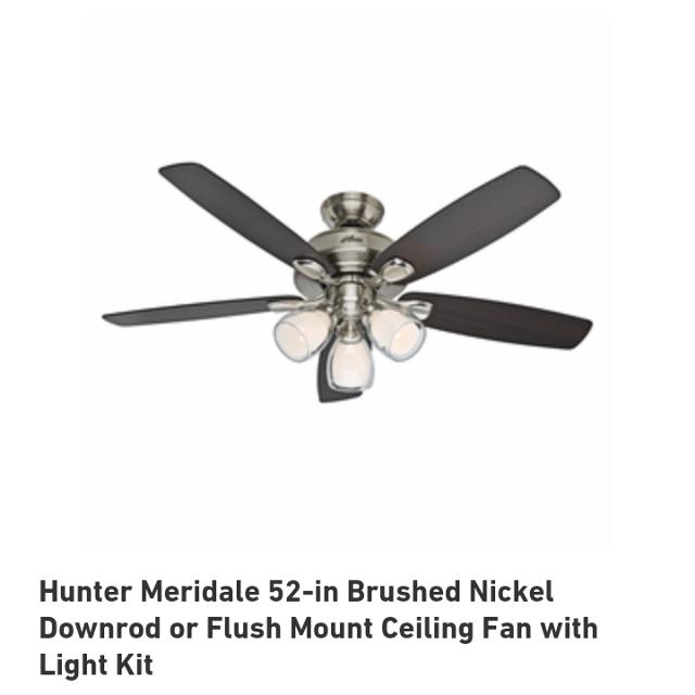 Find More Brand New Hunter Meridale 52-in Brushed Nickel