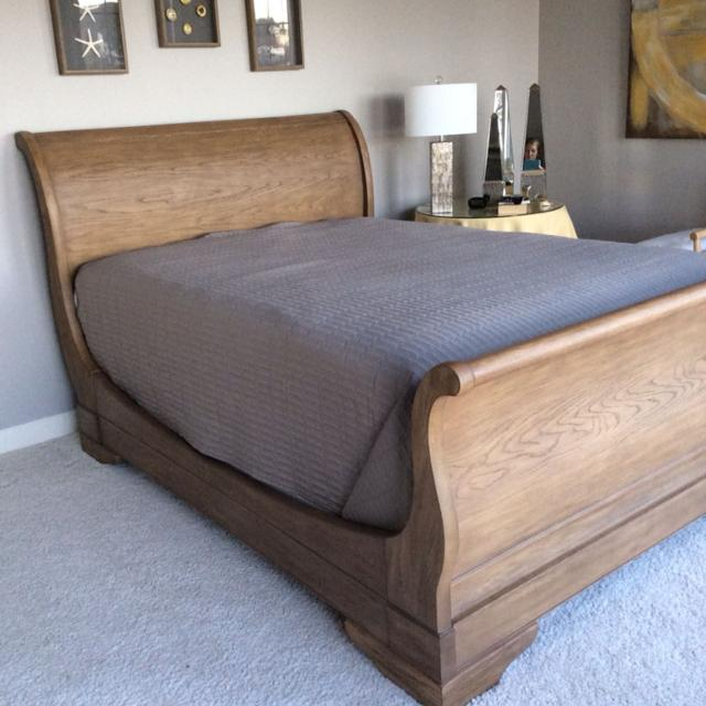Best Restoration Hardware Sleigh Bed Queen Beautiful Matte Pecan Finish Used In Guest Room Like New For Hendersonville Tennessee 2019