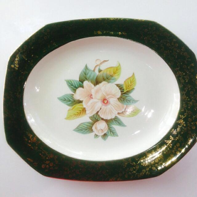 Alfred Meakin Serving platter wild rose pattern, gold gilding, see comments  for stamp and measurement