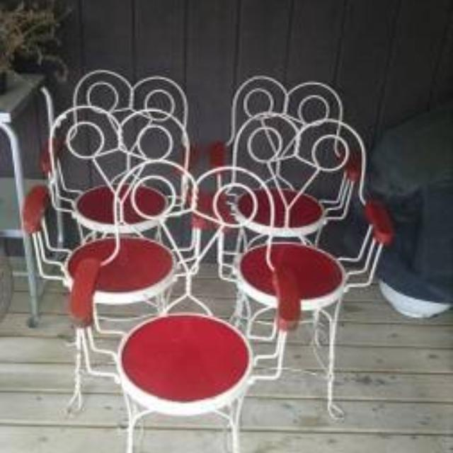 Vintage Antique Ice Cream Parlor Twisted Wrought Iron Sweetheart Chairs Set  of 5 - Best Vintage Antique Ice Cream Parlor Twisted Wrought Iron