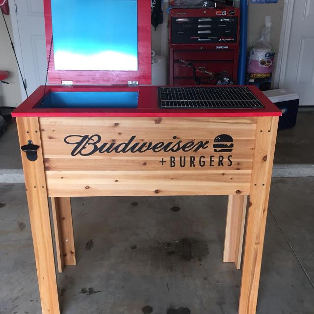 Budweiser Cooler And Charcoal Grill Never Used