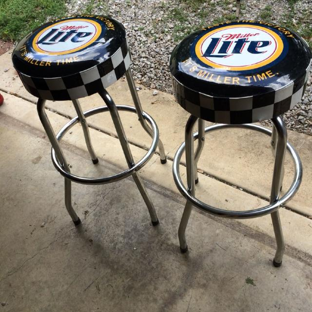 Set Of 2 Miller Lite Bar Stools