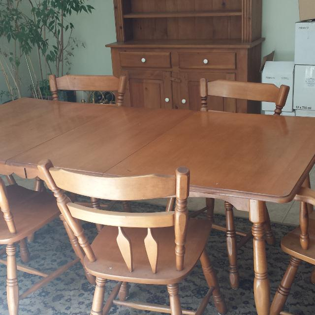 Roxton Maple Table With Leaf And 6 Chairs