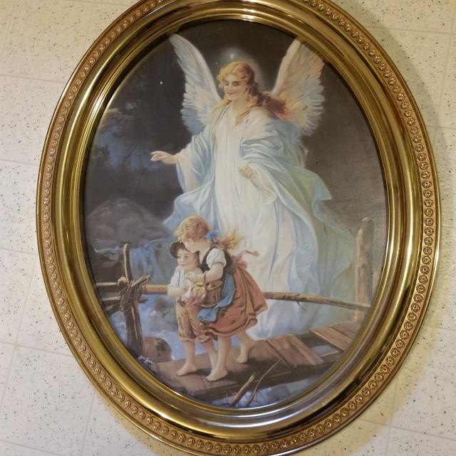 Find More Home Interior Guardian Angel Oval Framed Picture 23 1 2 X 19 1 2 For Sale At Up To 90 Off
