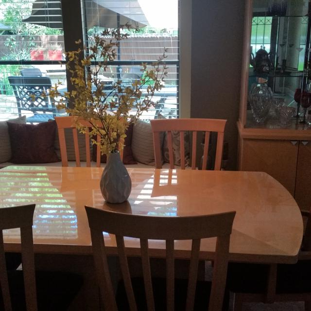 Maple Dining Room Set 8 Chairs Two With Arms Table Has 19