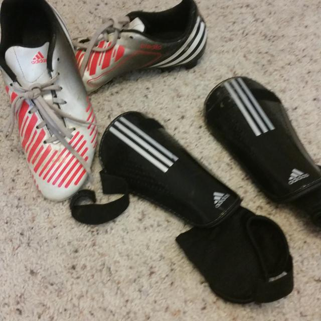 Find more Boys Adidas Soccer Cleats Size 6.5 And Shin Guards Size ... eb4547d7685c