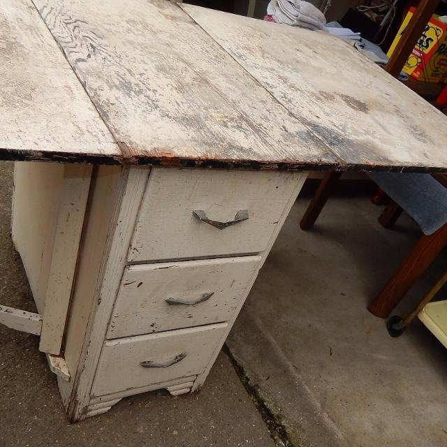 Very Old Antique Drop Leaf Table - Drawers on Both Sides - for Upcycle - 64 - Find More Very Old Antique Drop Leaf Table - Drawers On Both Sides