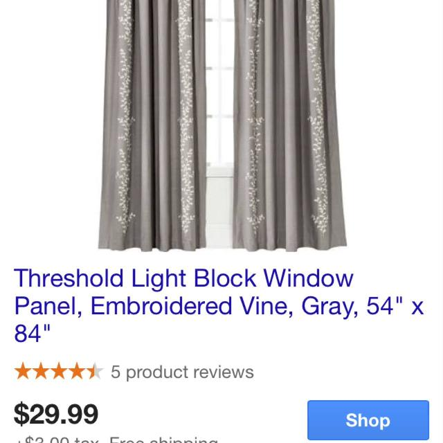 Best Threshold Embroidered Vine Light Blocking Curtains! Includes ...