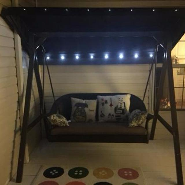 Hampton Bay Led All Weather Wicker Patio Swing With Canopy