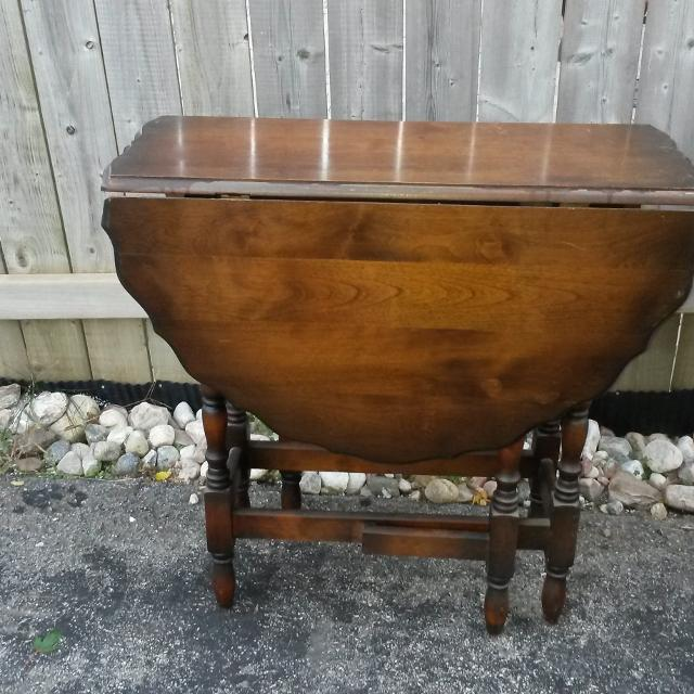 Antique Side Table With Fold Down Sides