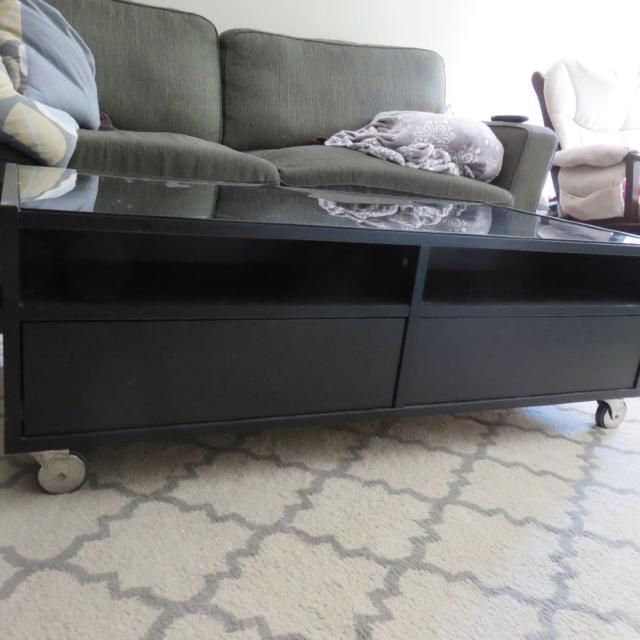 Find More Ikea Glass Top Coffee Table With Storage And Wheels For