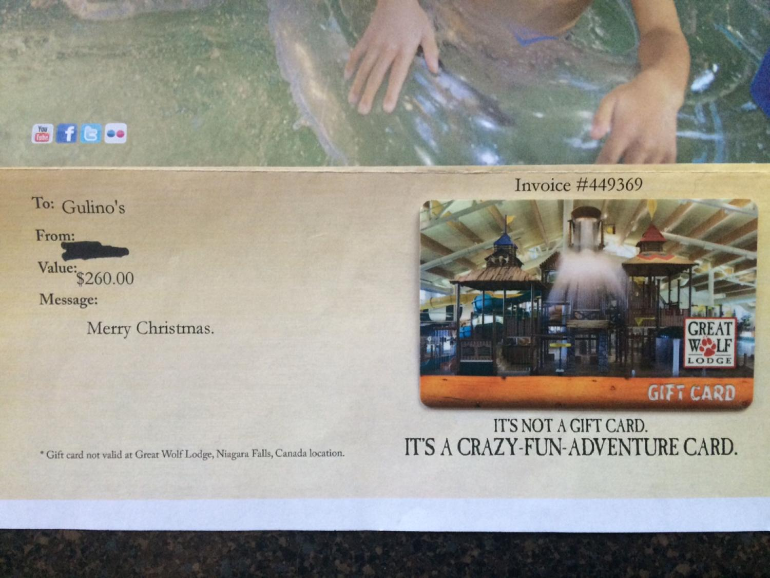 Find More Gift Card Great Wolf Lodge For Sale At Up To 90 Off