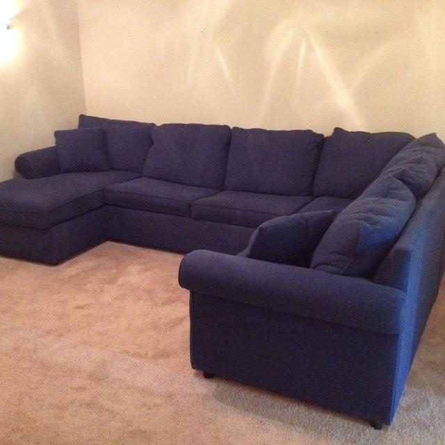 Blue Sectional Couch W Hide A Bed