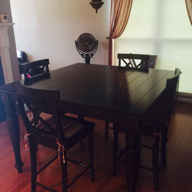 Find More Distressed Dark Wood Farm Style Dining Table W Leaf - Dark wood farm table