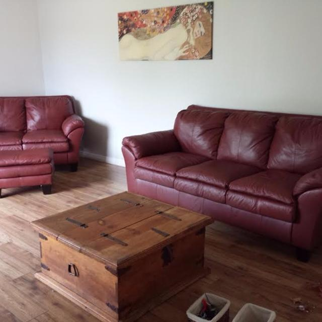 Find more Deep Cherry Red Leather Couch, Loveseat, Ottoman And Chair ...