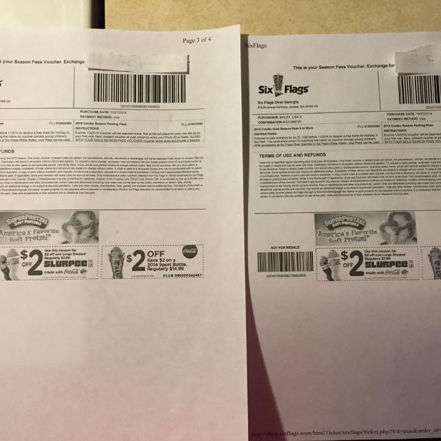 2 Kids gold season passes to six flags, white water and free parking for  sale    Don't ask for any cheaper!!!!