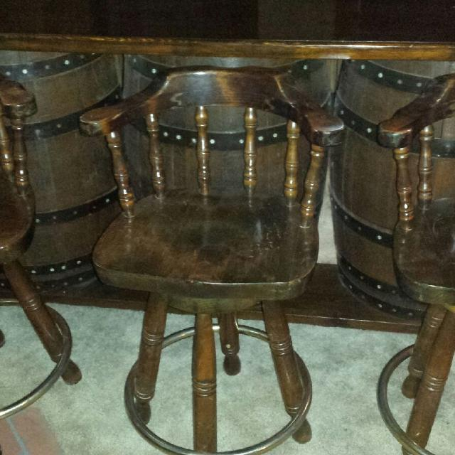 Find More Large Whiskey Barrel Bar And Bar Stools Comes With Back
