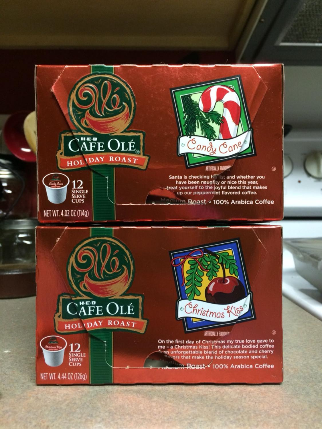 K-cups - HEB Cafe Olé Holiday Roast  Candy Cane & Christmas Kiss  - I just  don't like peppermint or chocolate flavors in my coffee