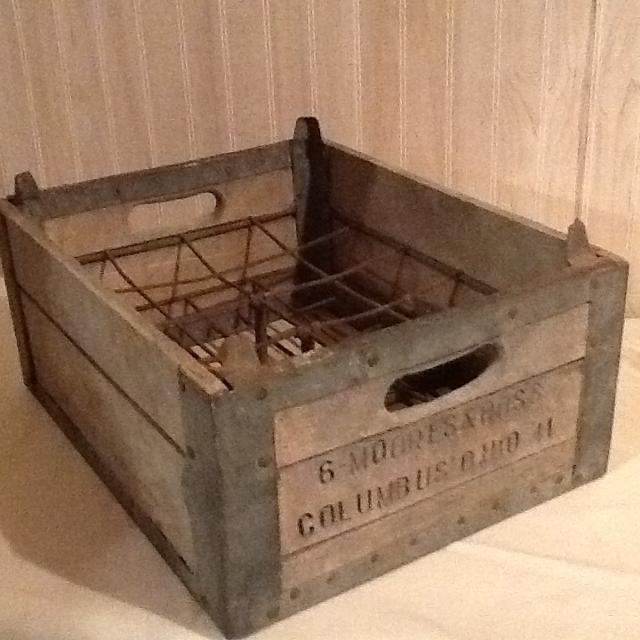 Wood Milk Crate Vintage Moores Ross Dairy Columbus Ohio Later Acquired By Borden Inc