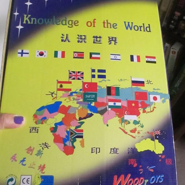 Chinese language wood world map with flags