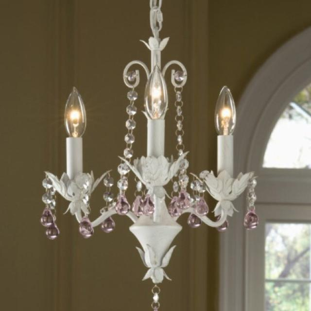 Portfolio 3-Light Antique White Chandelier with pink crystals - Find More Portfolio 3-light Antique White Chandelier With Pink