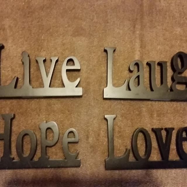 Live Laugh Love And Hope Black Wooden Signs