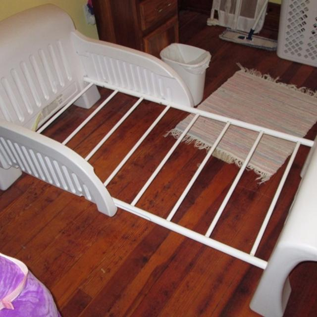 White Cosco Plastic Toddler Bed With Metal Frame