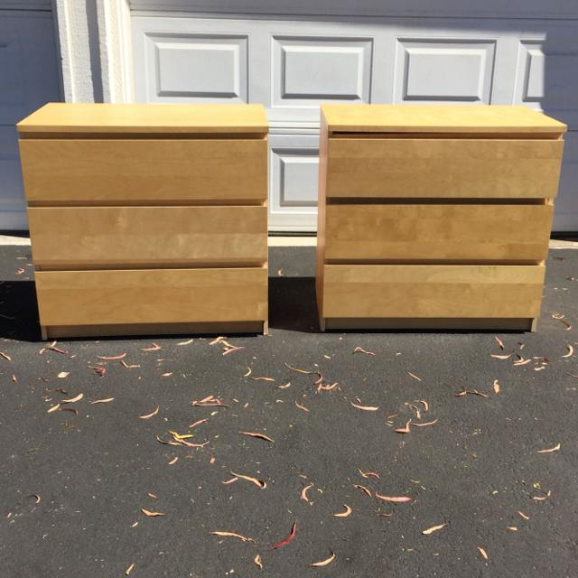 Ikea Malm Birch Veneer 3 Drawer Dresser Chest