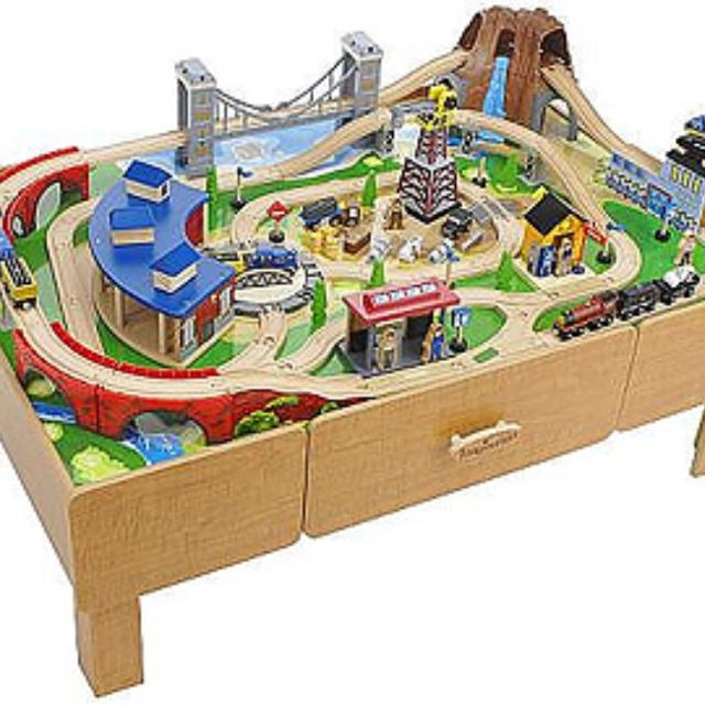 Find more classic train table imaginarium for sale at up for 100 piece mountain train set and wooden activity table