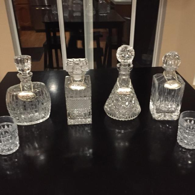 Mad Men Bar Set 4 Vintage Crystal Decanters W Gles