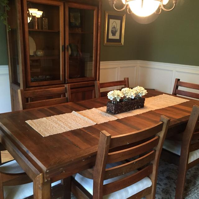 Dining table, 6 chairs and matching hutch. Made of solid Wormwood Pine.  Great