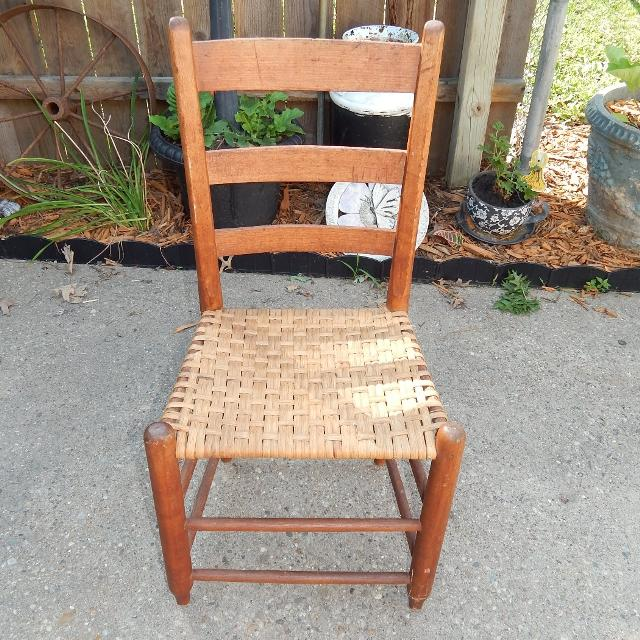 Ladder Back Solid Wood Woven Cane Seat Antique Dining Parlor Chair 16